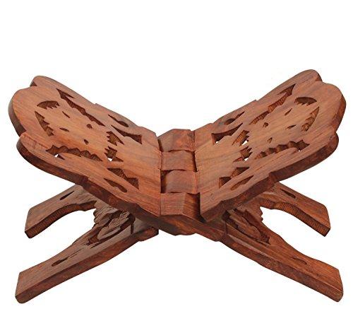 DivineTM Medium handgeschnitzten Hartholz Heiligen Koran Ständer Rehal Faltbarer Ständer für Bücher zu lesen, (Koran Koran aufgeschlagenes Buch Ständer) 27,9cm ca