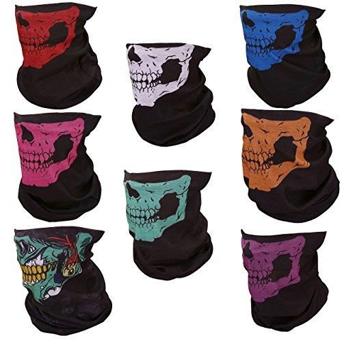 Graceme 8 Pièces Masque Squelette Tête de Mort Masque Crâne Multi-Fonction Écharpe Serviette Bandana Mouchoir Idéal pour Halloween Mascarade Vélo Moto (8 couleurs différentes) Taille 25cm x 48cm (squelette)