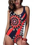 Feoya - Ropa de Baño Traje de Una Pîeza Estampdo de Natación Bañador para Mujer Verano - Rojo - L