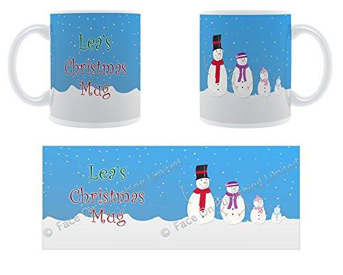 Lea's-Mug La Famille de neige de Noël Design tasse en céramique Motif Chunky