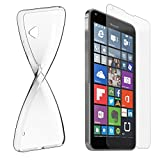 Nokia Lumia 640 XL Dual Sim Silikonhülle & Panzerglas (9H) Schutz Set I von EAZY CASE I, Displayschutzglas, Panzerglas, Schutzhülle ultra dünn, TPU/Silikon Hülle, Backcover, transparent/kristallklar