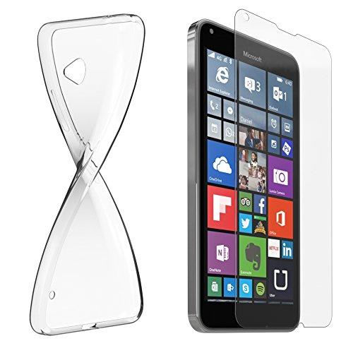 Schutzhülle und Glasfolie als Set für Nokia Lumia 640 Dual Sim TPU Case Silikon Hülle Schutz Cover Transparent mit Panzerglas Schutzfolie Glasfolie