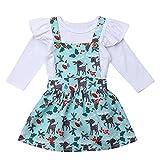 Lenfesh Weihnachten Baby Kinder Mädchen Strampler + Cartoon Hirsch Tutu Röcke Outfits Set Outfit Kleidung Outfits Anzug Mini Kleid Prinzessin Kleider