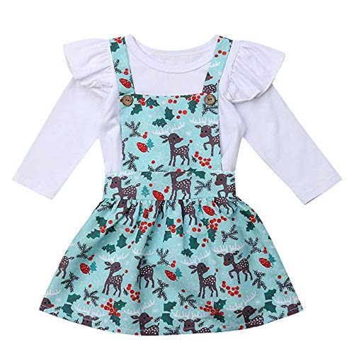 by Kinder Mädchen Strampler + Cartoon Hirsch Tutu Röcke Outfits Set Outfit Weihnachten Kinder Trompete Langarm Strampler + Cartoon Hirsch Sling Dress Set (100, Weiß) ()