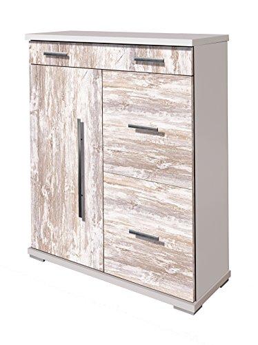 OVERHOME365 2215 B/V - Zapatero, madera, color blanco y vintage, 76x34.5x97.5 cm