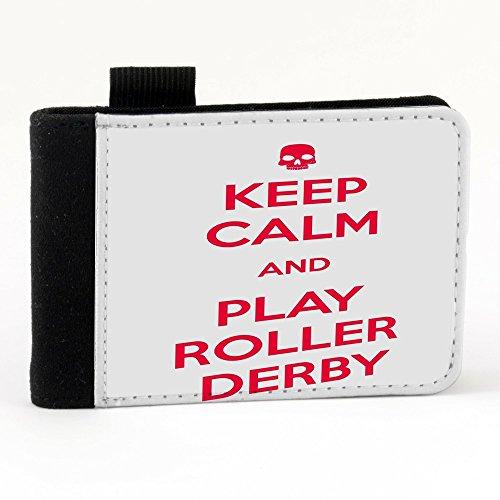 Keep Calm 10054, Keep Calm And Play Roller Derby, Nero Polyester Piccolo Cartella Congressi block notes Tasca Taccuino con Fronte di Sublimazione e alta qualità Design Colorato.Dimensioni A7-131x93mm.
