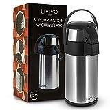 Edelstahl-Getränkespender/Pumpkanne,ideal für heiße und kalte Getränke wie Tee, Kaffee und Wasser, edelstahl, Medium (3L)