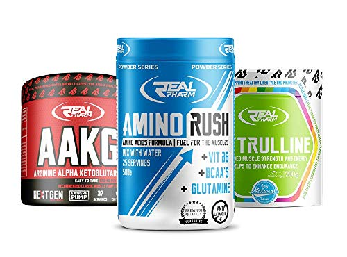 Nährstoff-kit (Real Pharm am besten Pre Workout Set | Amino Rush | AAKG | L-Citrulline | Das beste Aminosäuren-Nährstoff-Kit vor dem Training)