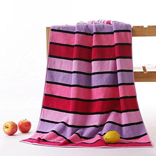 TYSM Badetuch Baumwolle Lady Erwachsene Baumwolle Weich Dicker Saugfähiger Farbe Streifen Rot Orange Blau 75x 135cm Rot (Streifen-badelaken)