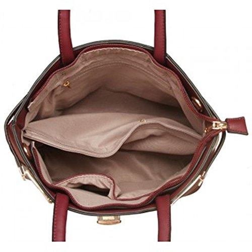 LeahWard® Damen Qualität Bogen Dekoration Patent Tragetaschen Damen Mode-Berühmtheit Kunstleder Handtaschen mit Gurt 01 CWS00384 CWRFM0042 CWS00386 CWRFM0032 Rot Doppelt Abteil Taschen