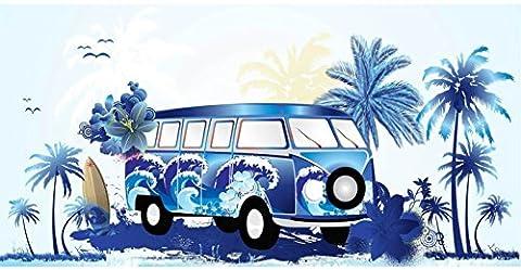 100% Pure Cotton Luxury Campervan / Caravan Blue, Beach Towel - Modern Design, 75x150cms