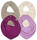 Pippi * 4er Set Baby Dreieckstuch Halstuch Lätzchen 4 Stück * verschiedene Farbkombinationen (Creme-violet ice-flieder-beere)