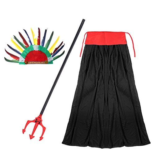 Kostüm Indische Geist - Amosfun Mantel der Erwachsenen Hexe Indischer Feder-Kopfschmuck, Erwachsener Mantel, Gewinde Rod-Geist Drei Gabeln, Ball-Partei-Kostüm, 3Pcs / Set