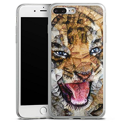 Apple iPhone 8 Slim Case Silikon Hülle Schutzhülle Angry Cat Tiger Katze Silikon Slim Case transparent