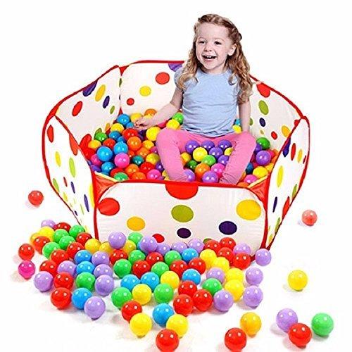 Amison - vasca esagonale a pop up, a pois, per bambini, per giocare, portatile, utilizzabile come tenda/contenitore per giocattoli, palline non incluse