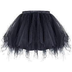 ZeWoo Mujer Adultos Mini Falda de Ballet Skirt Princesas Tutú de Tul para Baile Disfraces Fotografía Fiesta Despedida de Soltera (Negro)
