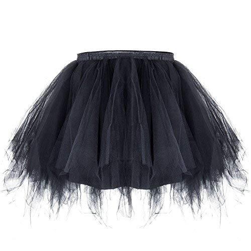 ZeWoo Damen Tutu Unterkleid Kurz Blase Ballett Tanzkleid Ballklei Abendkleid Zubehör (Schwarz)