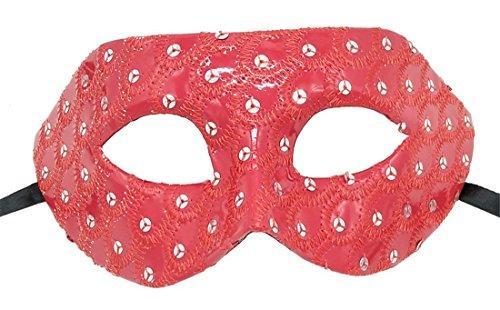 Flywife Maskerade Maske für Damen Leder Pfau Muster Paillette Halloween Party Ball Mardi Gras Karneval Maske (Rot)