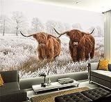 3D Benutzerdefinierte Highland Kuh PVC Poster Vieh Leinwand Kunst Gemälde Yak Wand Wohnzimmer Schlafzimmer Dekoration, 150 cm X 105 cm