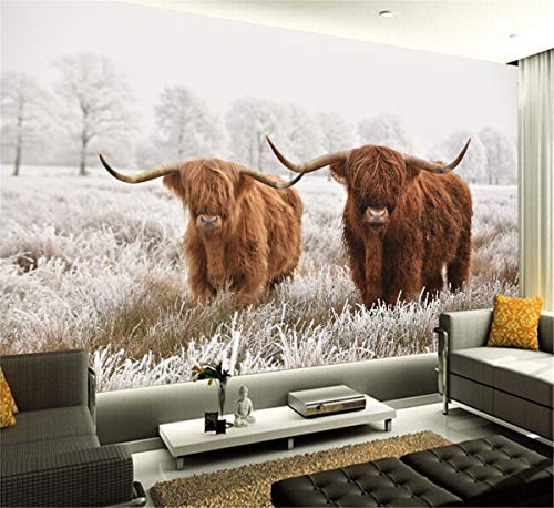 3D Benutzerdefinierte Highland Kuh PVC Poster Vieh Leinwand Kunst Gemälde Yak Wand Wohnzimmer Schlafzimmer Dekoration
