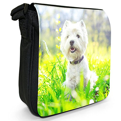 West Highland Terrier cane Piccolo Nero Tela Borsa a tracolla, taglia S West Highland In Field
