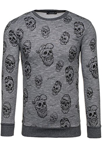 BOLF – Sweat-shirt – Manches longues – U-neck – Homme – MIX Anthracite_1623