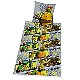Herding 4455030050521 Bettwäsche Teenage Mutant Ninja Turtles, Kopfkissenbezug 80 x 80 cm Plus Bettbezug 135 x 200 cm, 100% Baumwolle, Renforce