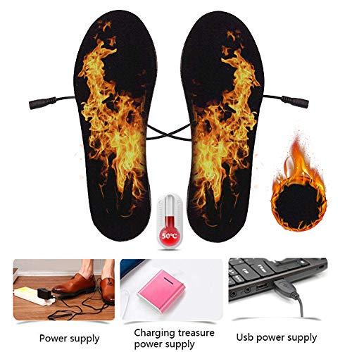 KOBWA Plantillas eléctricas calefactadas, Unisex, múltiples tamaños USB para Invierno, Plantillas de Zapatos calefactados, Medium