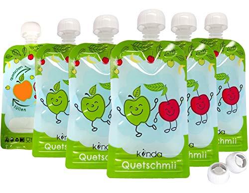 Quetschbeutel wiederverwendbar 6er Pack BPA frei | einfach zu befüllen & reinigen | ideal für Smoothie, Fruchtmus, Baby Brei, Joghurt | Gefrierschrank Geschirrspüler geeignet (100 ml)