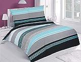 Buymax Bettwäsche-Set 4 Teilig, Renforce-Baumwolle, Reißverschluss, 135x200 cm,Türkis Schwarz, Modern Zick Zack
