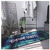 Unbekannt Nordic Verdickung Rutschfeste Schlafzimmer Tür Matte Küche Bad Saugfähige Matten In Die Tür Matte Wohnzimmer Teppich (Farbe : Green Leaves (Dark Blue), größe : 50 * 150cm)