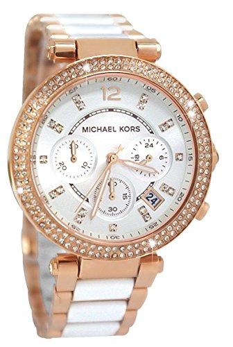 Michael Kors Damen-Armbanduhr MK5774 Roségold Weiß Chronograph Damenuhr