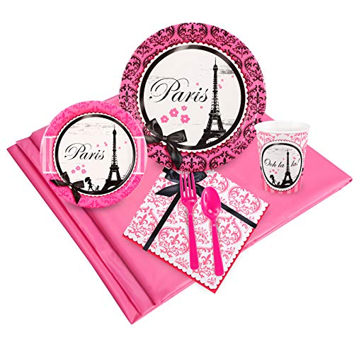 Paris Eiffel Tower Damask Party Supplies - Party Pack (Supplies Paris Birthday Party)