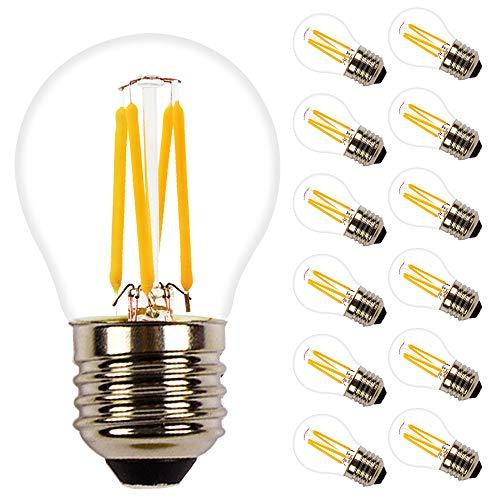 G45 4W LED E27 Base Classic Lampe, in Kolbenform mit E27-Sockel, nicht dimmbar, Ersetzt 35 Watt, Filamentstil Klar Glühbirne, Warmweiß 2700 Kelvin, 360LM, 12er-Pack -
