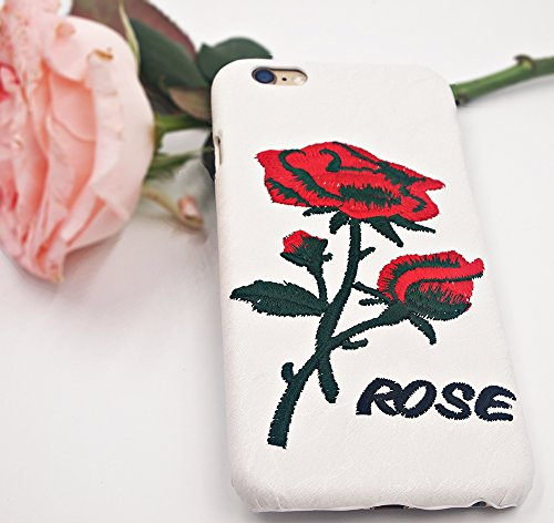 Apple Iphone 6 6S Hülle Nnopbeclik® TPU+PC Ultra Slim Silikon Schutzhülle Hard Back Cover Case, 3D Deckel mit Spitze Stickerei Lace Embroidery Rosa Luxus Schutzhülle Muster Full Protective Glänzend Kr Weiß+Rot Blume