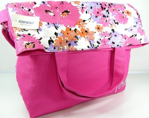 aero-aeropostale-xl-purse-bag-flower-school-book-tote-fold-over-pink-by-aeropostale