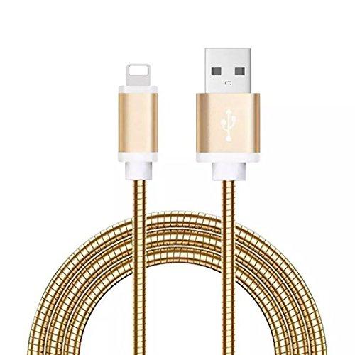 LoongGate Lighting Metallkabel - Flexibles Rohrfederschild Verstärktes Kabel - 5V 2.1A USB Lade- und Synchronisierungskabel für iPhone 8/8 Plus, 7/7 Plus, iPhone, iPod und iPad - 1 Meter (3.2ft) - Gold
