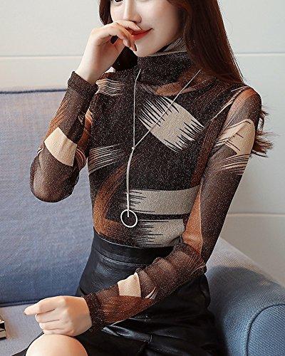Donna Manica Lunga Stampato Camicetta Con Collare Alto Slim Pullover Cachi