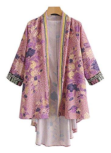 Rot Floral Kimono (Popoye Frauen Damen Kimono Ärmel Strickjacke Rot Floral Druck Blumen Print UK 20)