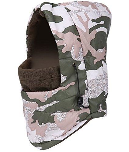 Bigood Cagoule Unisexe Cache Oreilles Chapeau Anti-froid Vent Chauffant Camouflage