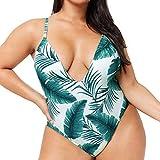 Dorical Bademode, Damen Übergröße Einteiliger Monokini Bademode, Hochdrücken Bikini Badeanzug Strandkleidung Triangel Brasilianische Bademode große größen Multicolor Schlankheits(Grün,X-Large)