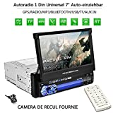 Autoradio CATUO + Bildschirm ausfahrbar + 7' High Definition HD Touchscreen Display + GPS +...