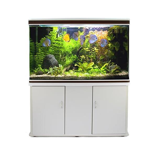 MonsterShop Fish Tank Aquarium Large Marine Tropical Salt Fresh Water/LED Lighting, Filter, Air Pump, Heater & White…