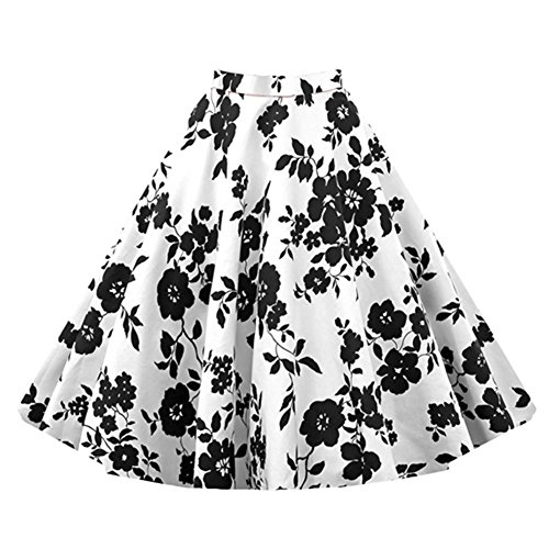 E-Girl M120218D Robe de bal Vintage pin-up 50's Rockabilly robe de soirée cocktail,S-XXL Blanc