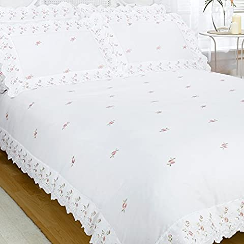 Just Contempo Broderie Anglaise Duvet Cover Set, King, White