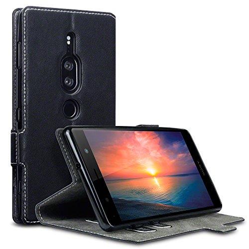 TERRAPIN, Kompatibel mit Sony Xperia XZ2 Premium Hülle, Leder Tasche Case Hülle im Bookstyle mit Standfunktion Kartenfächer - Schwarz