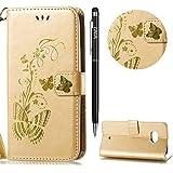 HTC U11 Hülle,U11 Leather Handyhülle,WIWJ Handyhülle Wallet Case[Heißprägen Prägung Schmetterlinge Ledertasche] Flip Schutzhülle für HTC U11-Golden