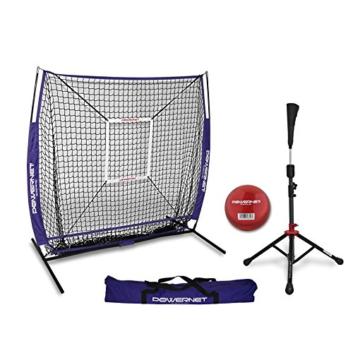 Powernet Praxis Net 5 x 5 + tragbar Tee (Paket mit Strike Zone, und Training Ball) für Baseball Softball, violett -