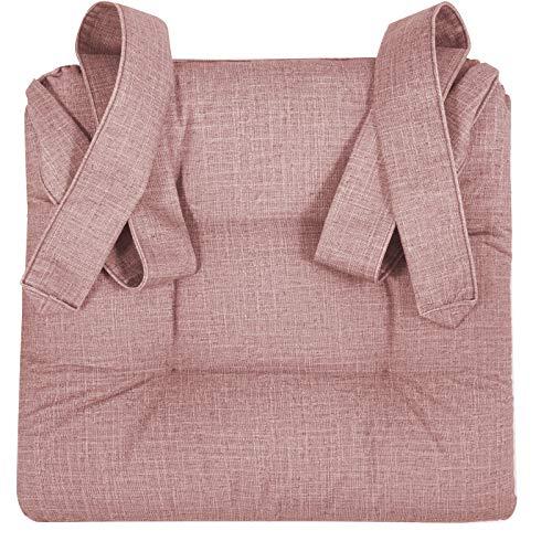JEMIDI Stuhlkissen Sitzkissen mit Schleifenband Stuhlkissen für Esszimmer mit Schleife Stuhl Kissen Stuhlauflage Rattanstühle Extra Dick und Bequem Leinenlook (Altrose meliert)