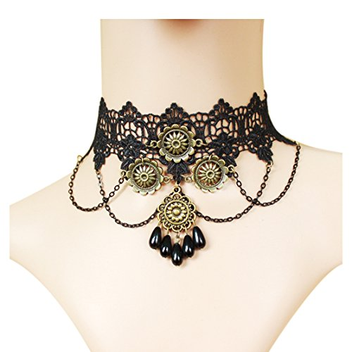 time-pawnshop-gothic-retro-sunflower-drop-shape-black-lace-elegant-choker-necklace